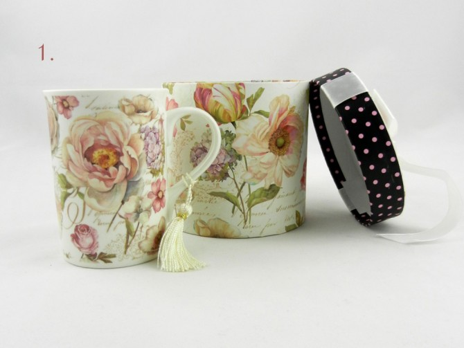 cup with romantic print