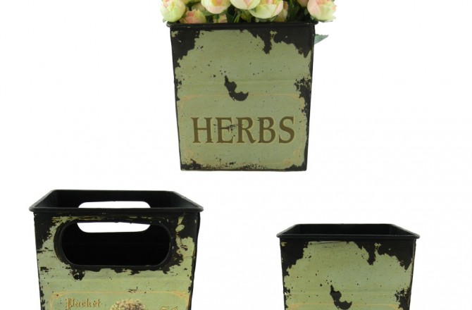 μεταλλικά δοχεία σειρά herbs σε vintage style