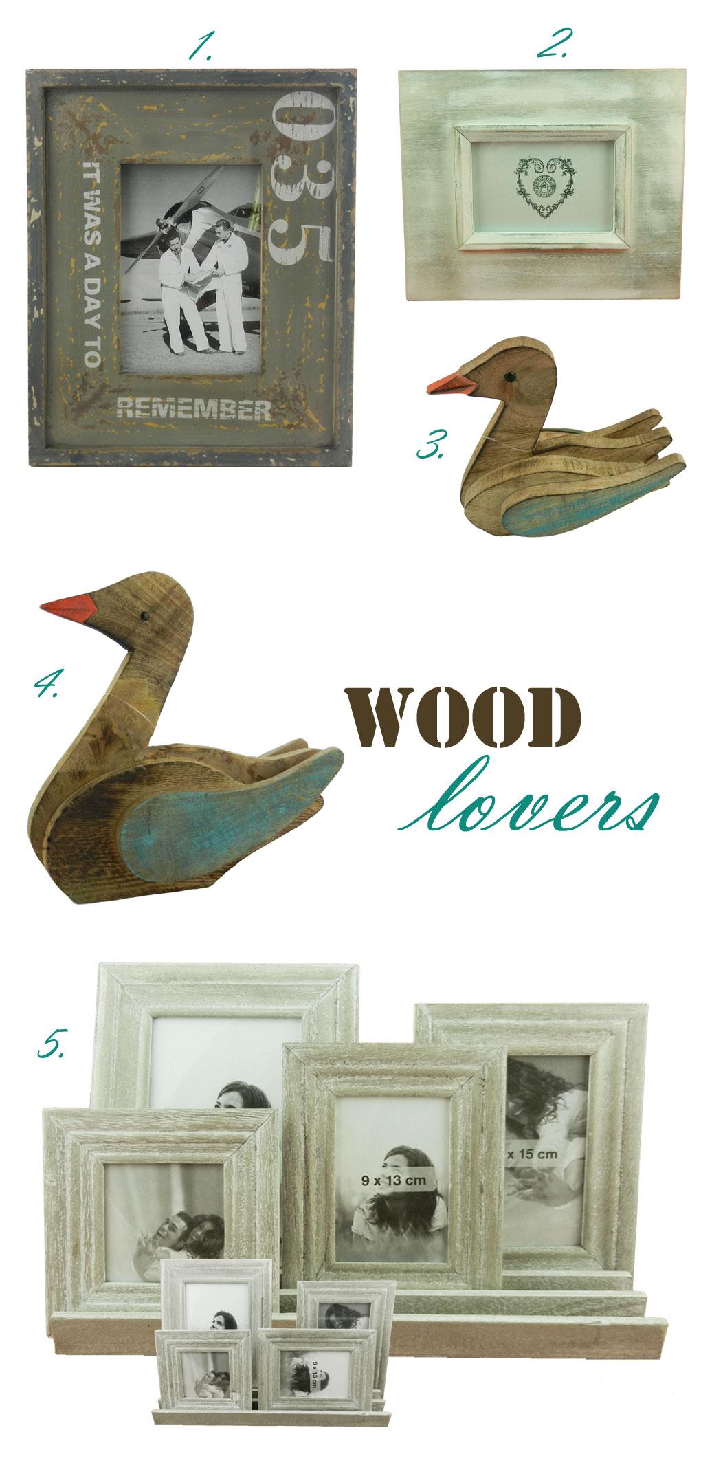 ξύλινες πάπιες και ξύλινες κορνίζες