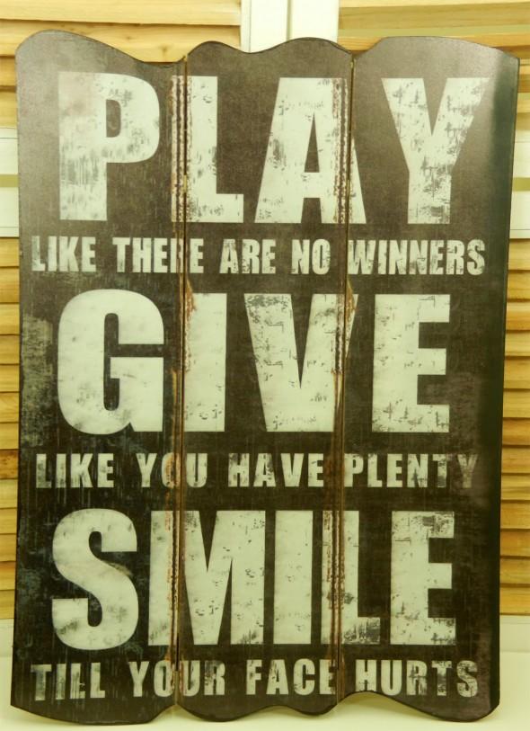 Ξύλινος πίνακας Play Give Smile