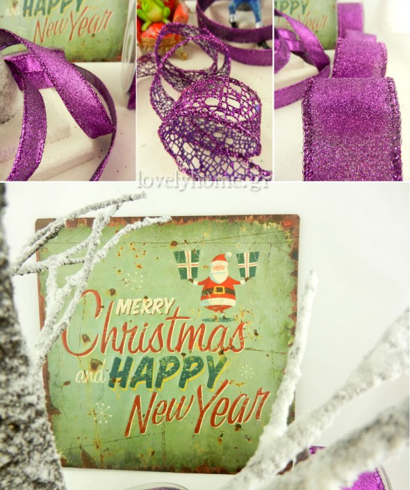 Κορδέλες και πίνακες για χριστουγεννιάτικη διακόσμηση