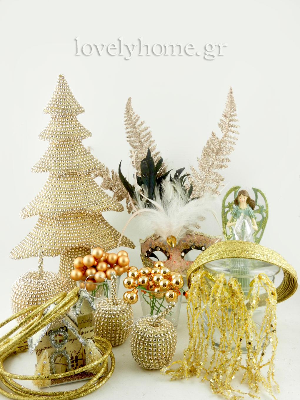 Χριστουγεννιάτικος στολισμός σε χρυσό και μπρούτζινο