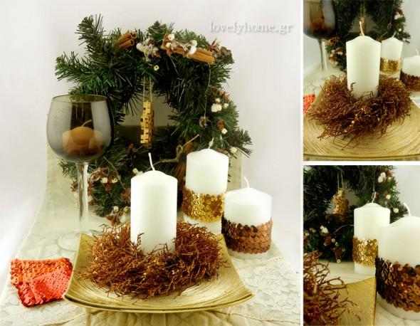 Διακοσμητικά σε χρυσό και bronze χρώμα για την art de la table των γιορτών των Χριστουγέννων και της Πρωτοχρονιάς