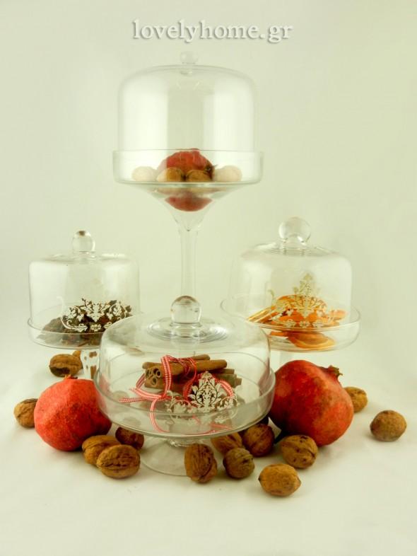 Γυάλες με καπάκι για γλυκά και διακόσμηση στο τραπέζι, ιδανικό χριστουγεννιάτικο δώρο για το φιλικό σπίτι που θα επισκεφτείτε