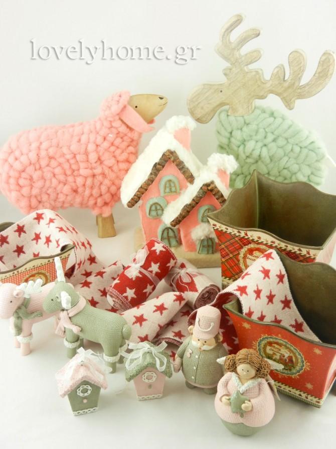 Ροζ, γκρι και παστέλ χριστουγεννιάτικα δώρα και στολίδια