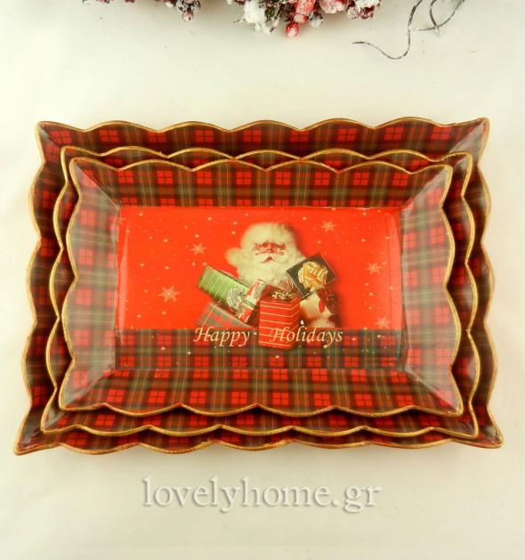 Σετ 3 χριστουγεννιάτικοι δίσκοι - πιατέλες για τα γλυκά και τη διακόσμηση του τραπεζιού