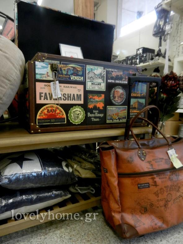 Σετ 2 μπαούλων σε vintage στυλ και Δερμάτινη καφέ βαλίτσα τσάντα ταξιδίου με ροδάκια