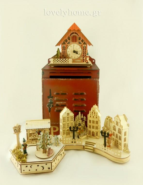 Φωτιζόμενα διακοσμητικά ξύλινα αντικείμενα για να φτιάξεις χριστουγεννιάτικο χωριό και vintage γραμματοκιβώτιο