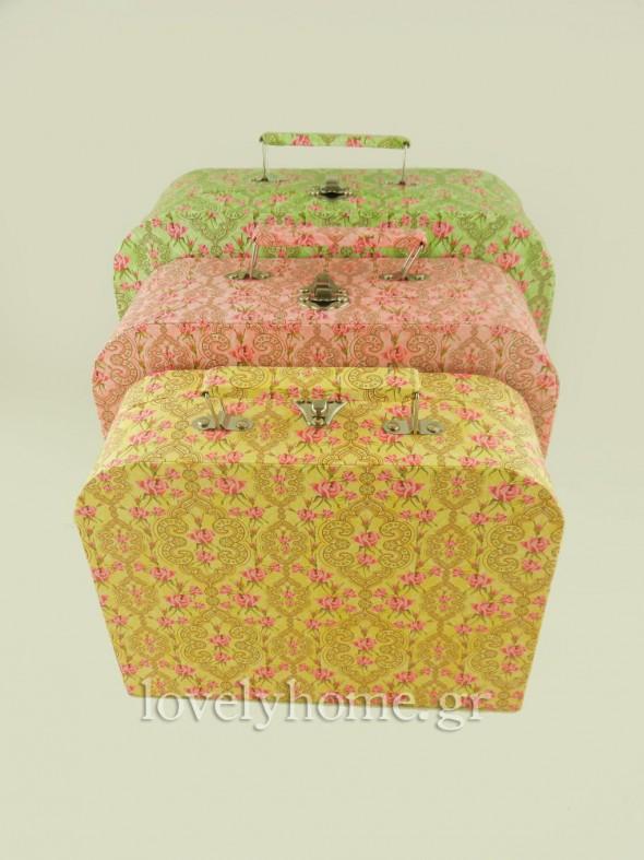 Παστέλ χρώματα κίτρινο, ροζ και πράσινο στα vintage βαλιτσάκια αποθήκευσης