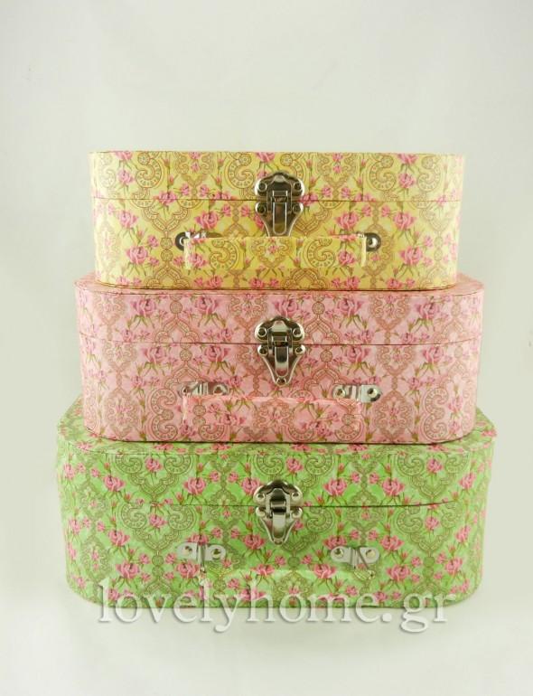 βαλίτσες κουτιά αποθήκευσης σε παστέλ χρώματα