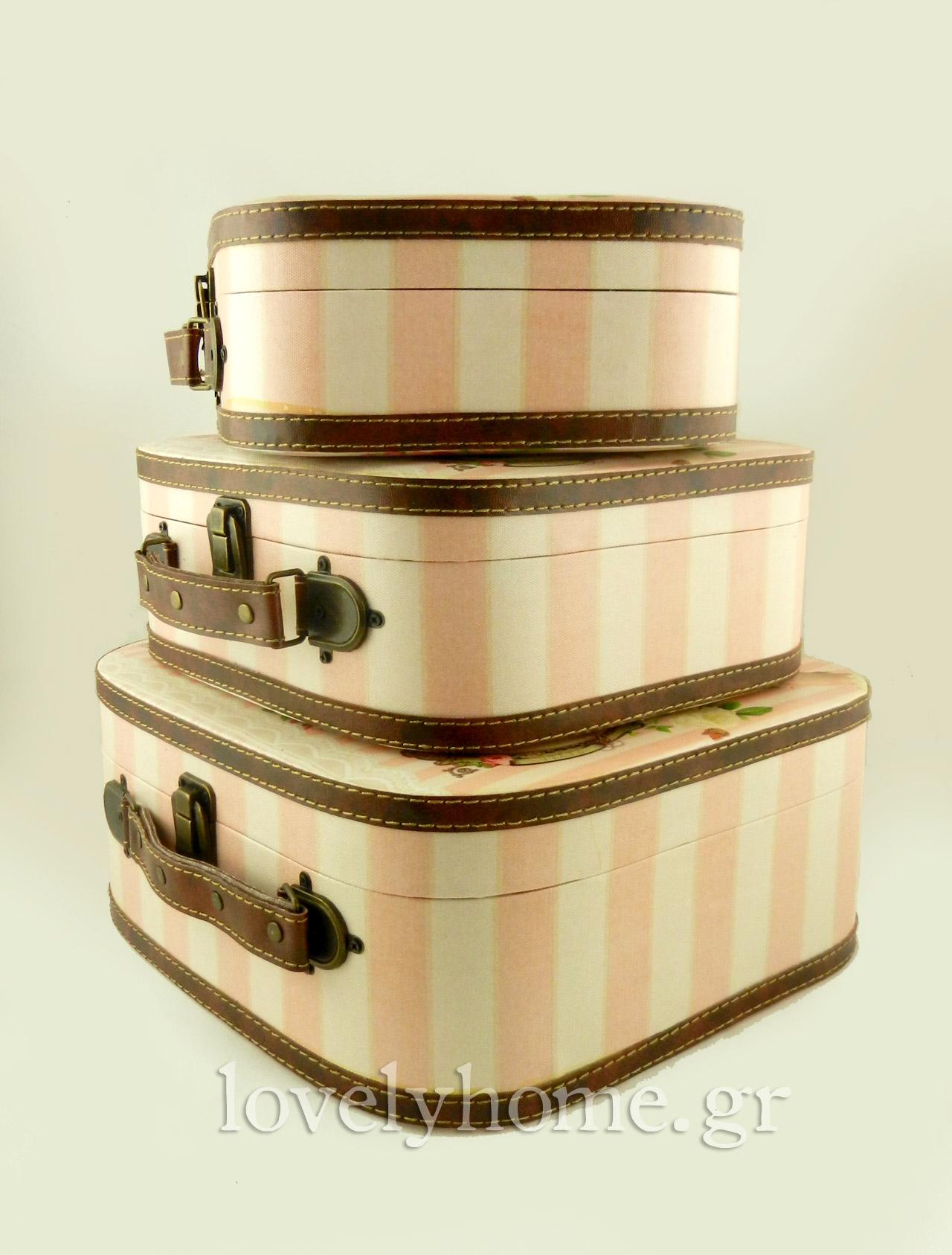 σετ 3 βαλίτσες ρομαντικού στυλ για αποθήκευση αντικειμένων