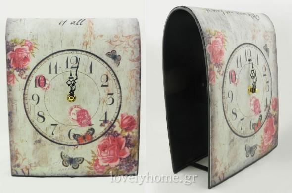 Διπλό επιτραπέζιο μεταλλικό ρολόι με vintage σχέδιο