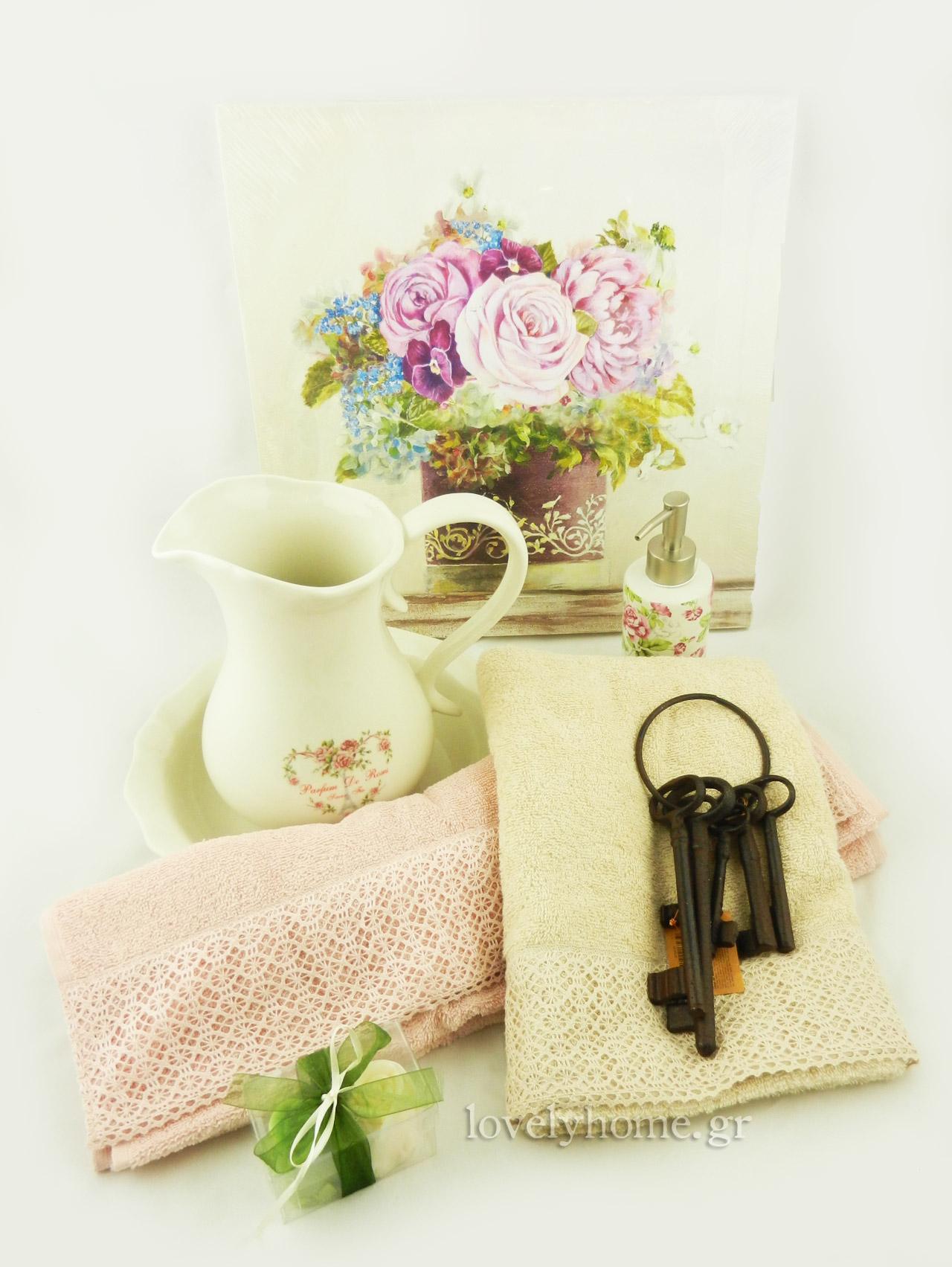 Πίνακες ρομαντικοί με λουλούδια σε 4 σχέδια, απαλές πετσέτες σώματος και προσώπου, vintage κλειδιά και σετ μπάνιου