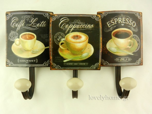 Τριπλή μεταλλική κρεμάστρα με θέμα ιταλικούς καφέδες σε vintage style