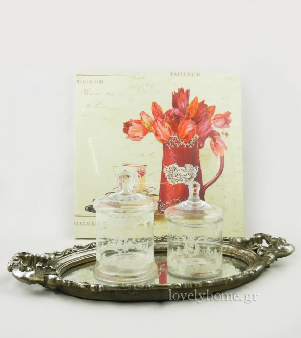 πίνακας, vintage δίσκος με καθρέφτη και γυάλινα βάζα με καπάκι