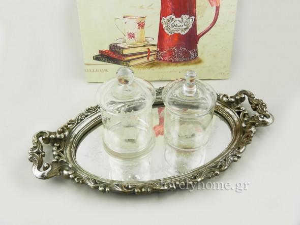 δίσκος vintage με καθρέφτη και Γυάλες με καπάκι και λευκό σχέδιο