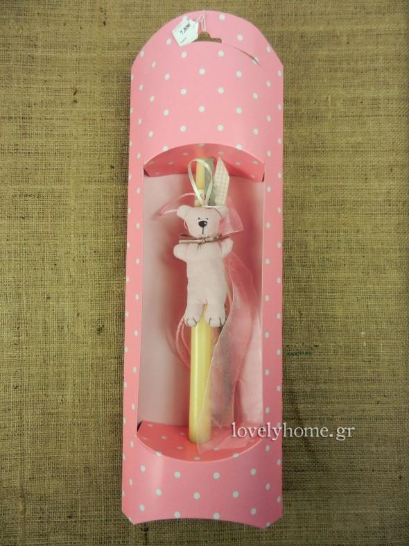 Λαμπάδα ροζ για το Πάσχα με παιχνίδι μαλακό αρκουδάκι για κοριτσάκι | 7,88 ευρώ