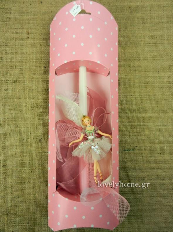 Λαμπάδα πασχαλινή για κορίτσι με στολίδι μπαλαρίνα | 13,13 ευρώ