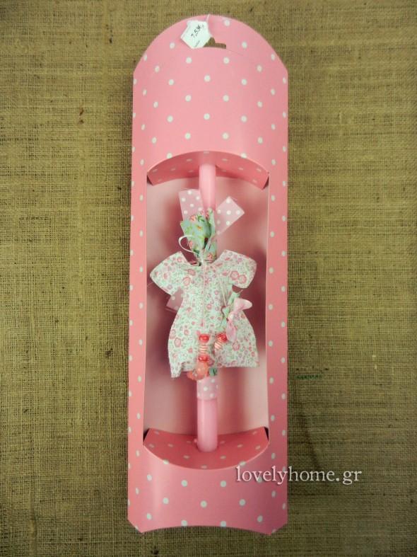 Πασχαλινή λαμπάδα για κορίτσι με στολίδι φορεματάκι και χάντρες | 7,53 ευρώ