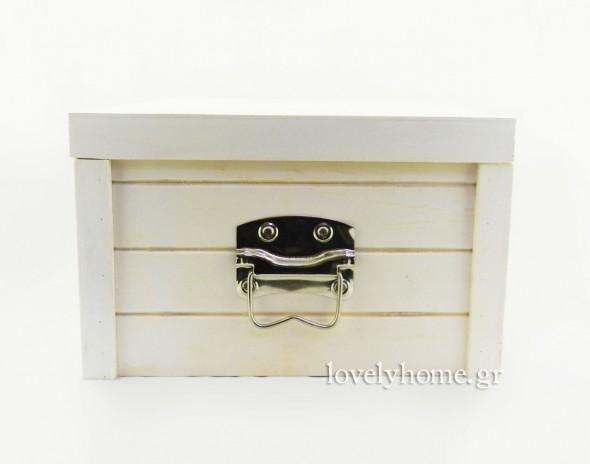 Πλαϊνή όψη - Σετ με 3 ξύλινα κουτιά με καπάκι και μεταλλικές λαβές στο πλάι Κωδ:04104346 Τιμή χωρίς ΦΠΑ 33,79 ευρώ