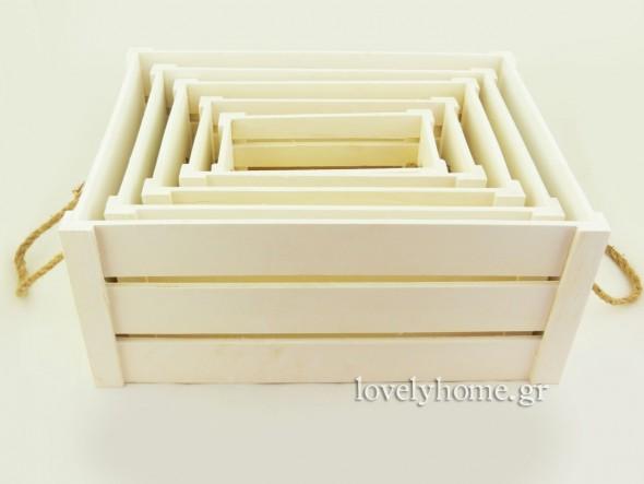Σετ με 5 κασόνια ξύλινα με πλαϊνές λαβές από τριχιά Κωδ:04104347 Τιμή χωρίς ΦΠΑ 25,08 ευρώ