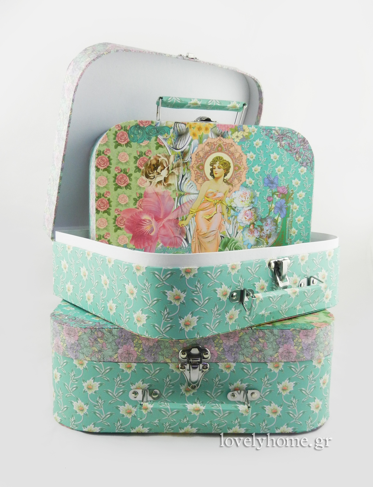 Χάρτινα κουτιά αποθήκευσης σε στυλ βαλίτσας