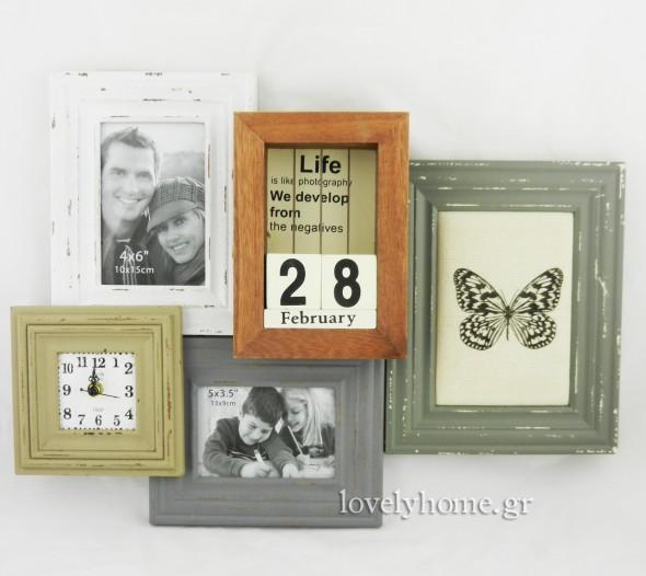 Ξύλινη πολυκορνίζα 53x6x39 εκ. που αποτελείται από 3 κορνίζες για φωτογραφίες, ένα ρολόι κι ένα ημερολόγιο με ξύλινους κύβους  24,23 ευρώ χωρίς ΦΠΑ