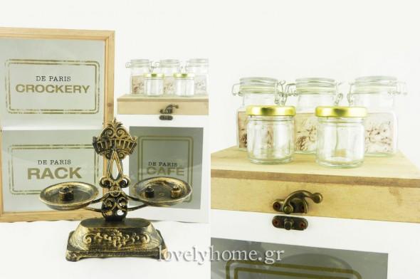 Ζυγαριά μεταλλική αντικέ 21,87 ευρώ | Γυάλινα βαζάκια 40 ml με μεταλλικό καπάκι 0,21 ευρώ | Γυάλινα βαζάκια με γυάλινο αεροστεγές καπάκι 1,28 ευρώ | Κουτί ξύλινο με καπάκι και τζάμι για καφέ | Διπλό ραφάκι ξύλινο με τζάμι στο πορτάκι (τιμές χωρίς ΦΠΑ)
