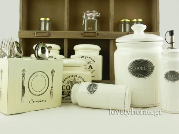 Σετ κεραμικό κρεμ για ζάχαρη, καφέ και τσάι 12,06 ευρώ | Μισκοτιέρα κεραμική 9,45 ευρώ | Σετ μπουκαλιών κεραμικών για λάδι και ξύδι 6,54 ευρώ | Κουτί ξύλινο 4 θέσεων για μαχαιροπίρουνα 5,49 ευρώ (τιμές χωρίς ΦΠΑ)