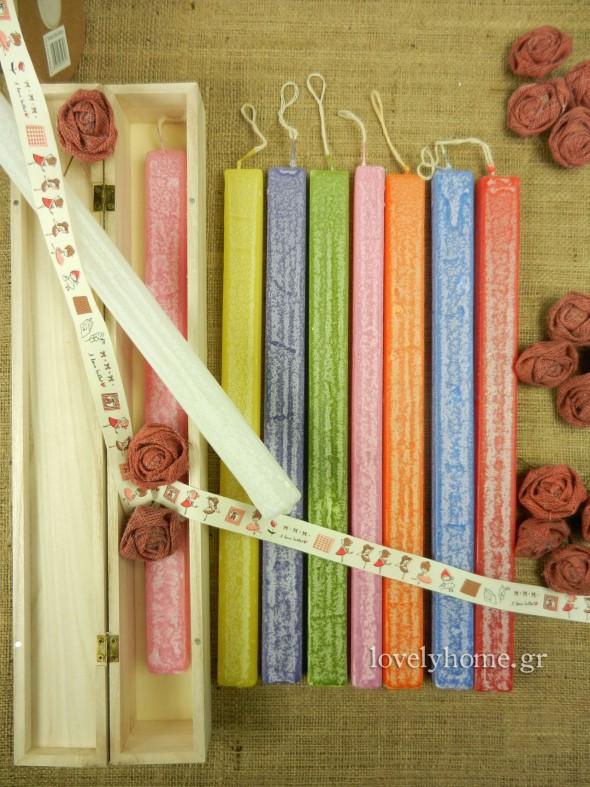 Πλακέ κεριά, ανάγλυφα, για πασχαλινές λαμπάδες σε διάφορα χρώματα τιμή 1,71 ευρώ χωρίς ΦΠΑ