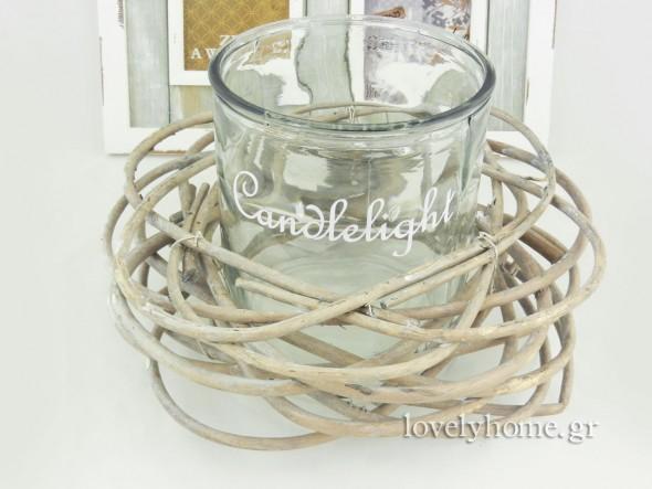 Στεφάνι ξύλινο με γυάλα για κερί Κωδ: 04102282 τιμή 8,72 ευρώ χωρίς ΦΠΑ