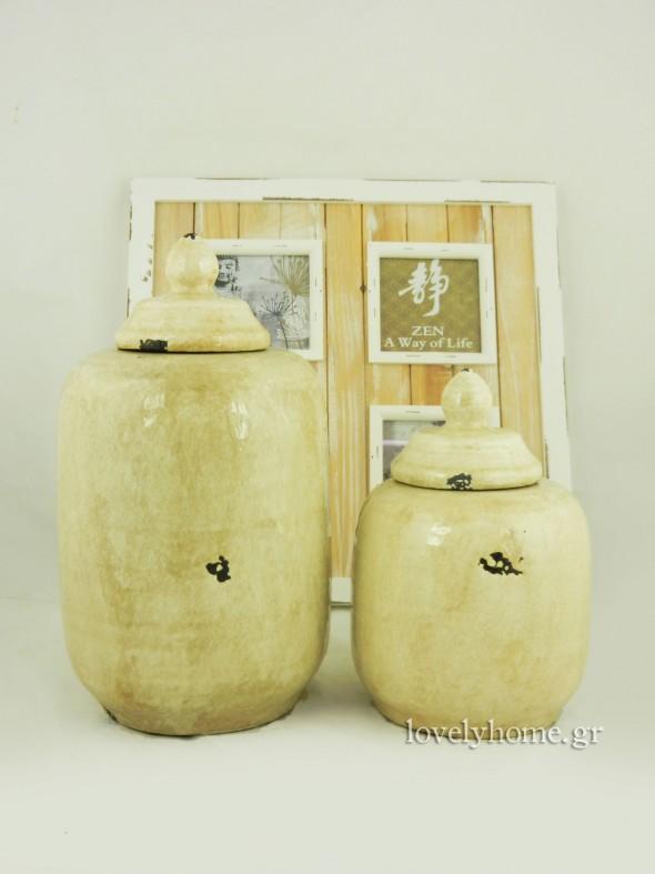Κεραμικά βάζα με καπάκι κωδ:04104625 14,75 ευρώ και κωδ: 04104626 8,72 ευρώ (τιμές χωρίς ΦΠΑ)
