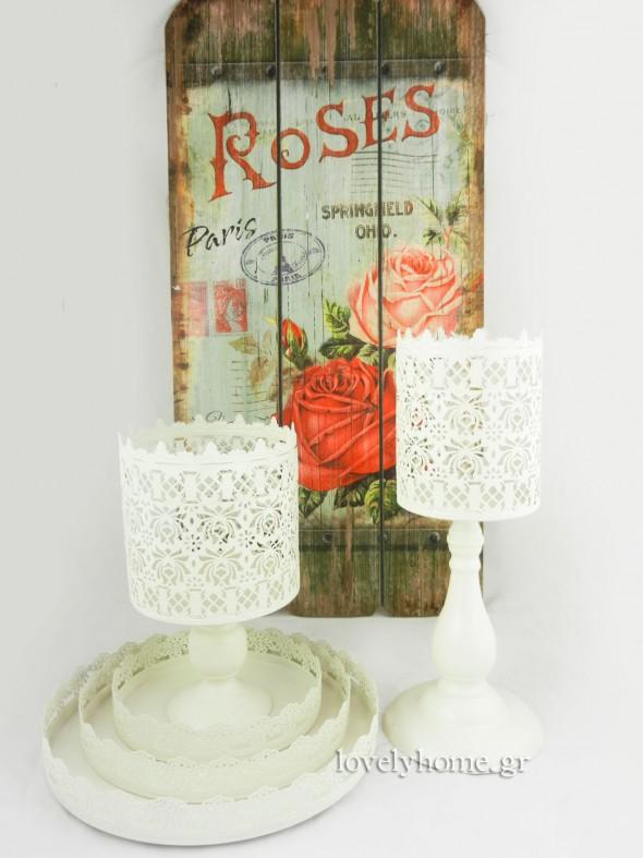 Λευκά μεταλλικά κηροπήγια και σετ 3 μεταλλικών δίσκων σε vintage στυλ