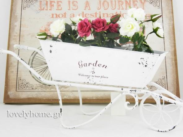 Μεταλλικό καρότσι για λουλούδια σε λευκό χρώμα Διαστάσεις 50x12x21 εκ. Κωδ:04104776 τιμή 13,34 ευρώ χωρίς ΦΠΑ
