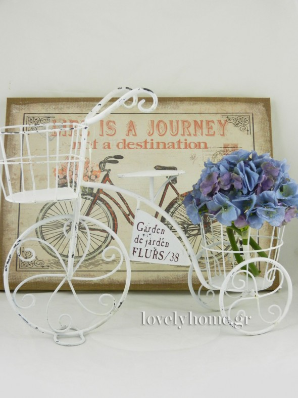 Μεταλλικό ποδήλατο σε για λουλούδια σε λευκό χρώμα Διαστάσεις 46x15x40 εκ. Κωδ:04104773 τιμή 15,39 ευρώ χωρίς ΦΠΑ