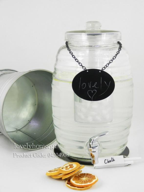 Γυάλα με βρυσάκι, χωρητικότητας 9,4 λ. Κωδ:04104908 Τιμή χωρίς ΦΠΑ 27,83 ευρώ. Περιλαμβάνεται αξεσουάρ για τα κομματάκια φρούτων που θα δώσουν φρουτώδη γεύση στο ποτό της γυάλας. Πρόκειται για σωλήνα με ανοίγματα που τοποθετείται στο κέντρο της