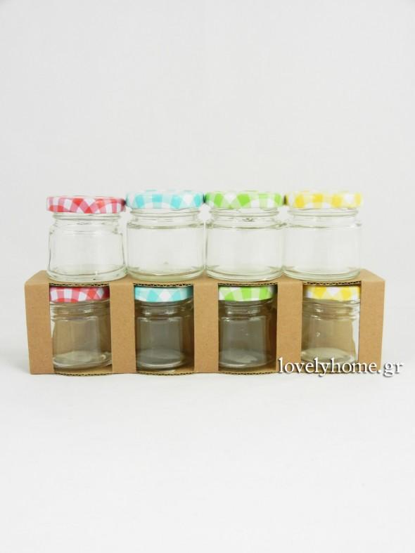 Σετ που αποτελείται από 4 πολύ μικρά γυάλινα βαζάκια με μεταλλικό, καρώ καπάκι σε 4 χρώματα Κωδ:04104839 Τιμή χωρίς ΦΠΑ 2,12 ευρώ