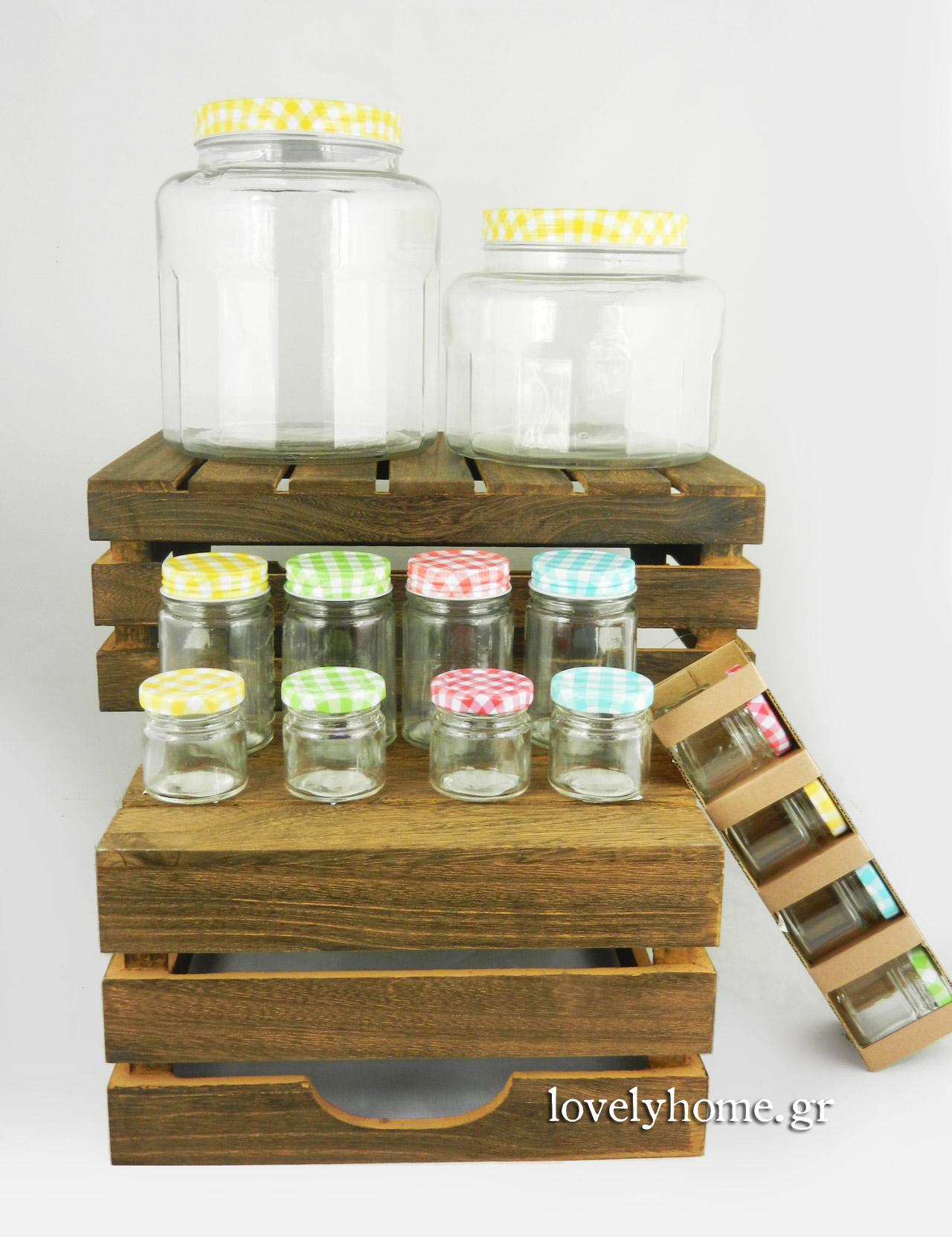 Γυάλινα βάζα με μεταλλικό καπάκι σε διάφορα μεγέθη και χρώματα