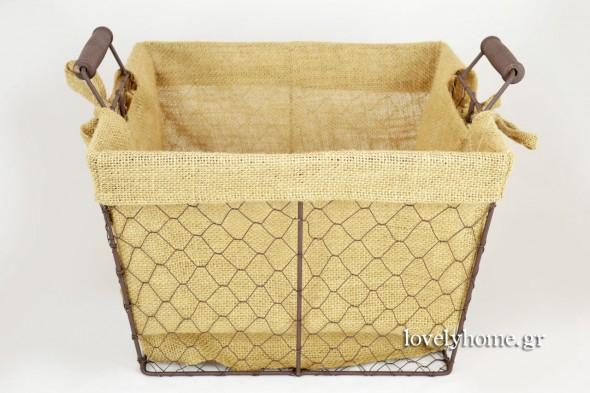 Καλάθι σιδερένιο, εσωτερικά επενδυμένο με λινάτσα Κωδ:15054509 τιμή 5,18 ευρώ χωρίς ΦΠΑ