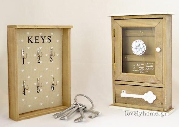 Κλειδοθήκη ανοιχτή με 6 θέσεις για να κρεμάσεις κλειδιά Κωδ:04105100 Τιμή 9,45 ευρώ | Κλειδοθήκη με γυάλινο πορτάκι και επιπλέον συρταράκι στο κάτω μέρος Κωδ:04105034 Τιμή 11,04 ευρώ | Σετ διακοσμητικά κλειδιά Κωδ:04101317 Τιμή 6,41 ευρώ (όλες οι τιμές είναι χωρίς ΦΠΑ)