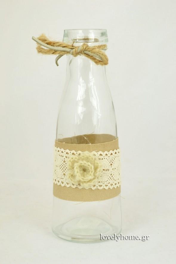 Γυάλινο μπουκάλι διακοσμημένο με λινάτσα, δαντέλα και πλεκτό λουλούδι 7x20 εκ. Κωδ:04104997 Τιμή χωρίς ΦΠΑ 2,82 ευρώ