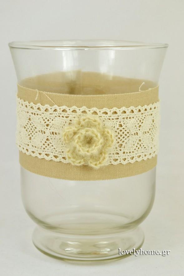 Γυάλα για κερί με δαντέλα και πλεκτό λουλούδι 11x15 εκ. Κωδ:04104998 Τιμή χωρίς ΦΠΑ 3,21 ευρώ