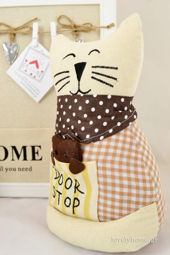 Door stop σε σχέδιο γάτα με πουά φουλάρι που χαμογελά πονηρά Κωδ:04105093 Τιμή χωρίς ΦΠΑ 11,08 ευρώ