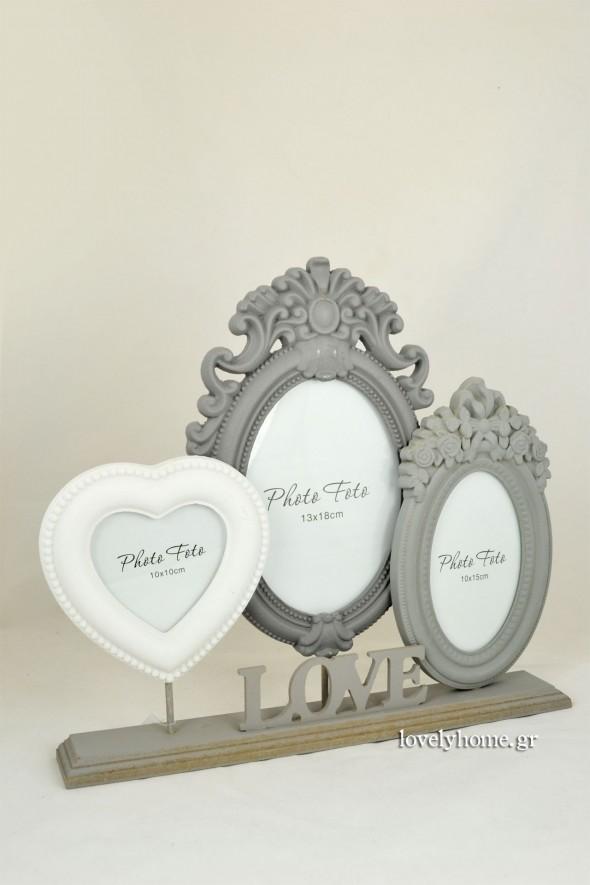 Επιτραπέζια τριπλή κορνίζα με επιγραφή LOVE μήκους 37 εκ. Κωδ:04120987 Τιμή χωρίς ΦΠΑ 13,23 ευρώ