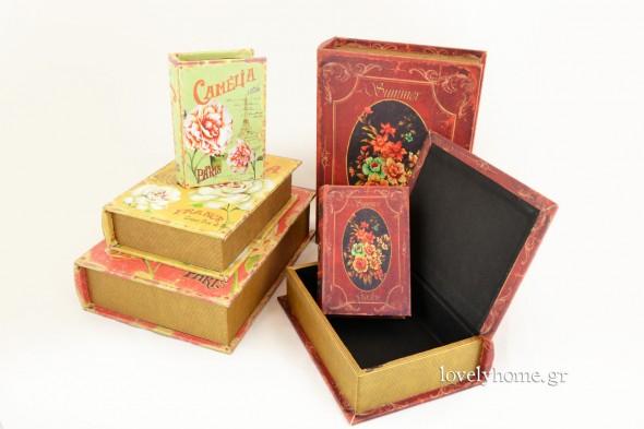 Σετ 3 αποθηκευτικών κουτιών σε στυλ βιβλίο και vintage παριζιάνικο ύφος Κωδ:04105117 Τιμή 18,36 ευρώ | Σετ 3 μπορντώ κουτιών αποθήκευσης σε στυλ βιβλίο και vintage ύφος Κωδ:04105043 Τιμή 18,63 ευρώ (τιμές χωρίς ΦΠΑ)