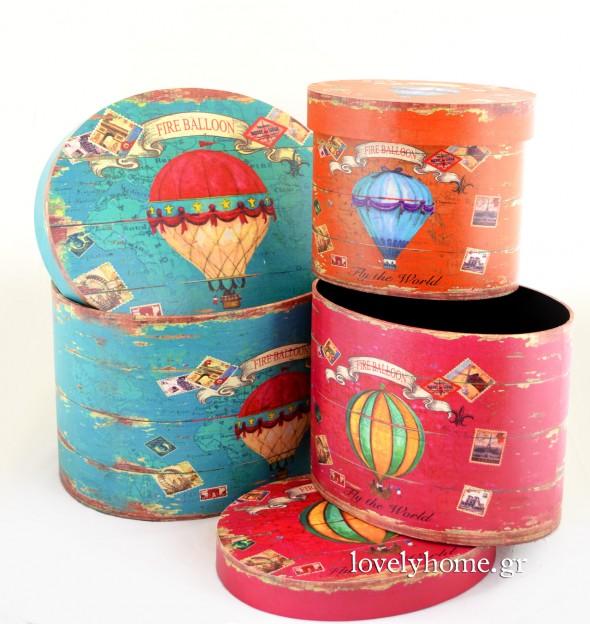Σετ 3 κυλινδρικών κουτιών αποθήκευσης σε στυλ καπελιέρας με σχέδιο αερόστατα και σε 3 διαφορετικά χρώματα Κωδ:04105367 Τιμή χωρίς ΦΠΑ 42,97 ευρώ