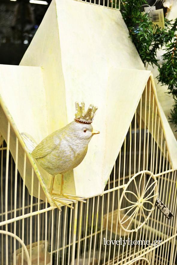 Διακοσμητικό κλουβί και διακοσμητικά πουλιά με στέμμα