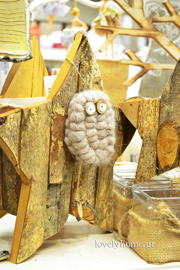 Ξύλινα αστέρια, διακοσμητικά, κρεμαστές μάλλινες κουκουβάγιες