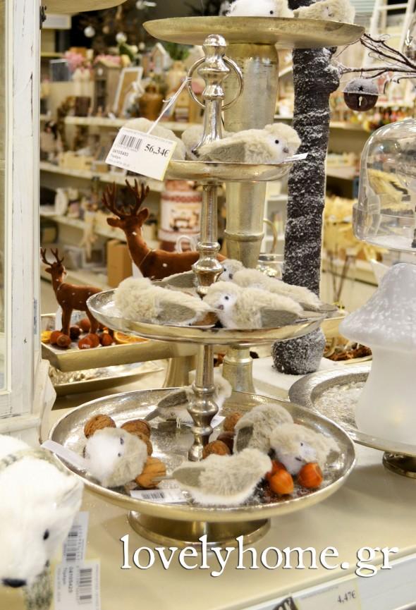 Τριώροφος δίσκος για τα γλυκά και τις διακοσμήσεις σας. Τα διακοσμητικά πουλάκια φέρνουν τη φύση στο σαλόνι σας