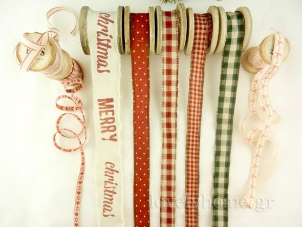 Χριστουγεννιάτικες κορδέλες σε υπέροχες υφές, σχέδια, χρώματα και σε πολλές διαστάσεις